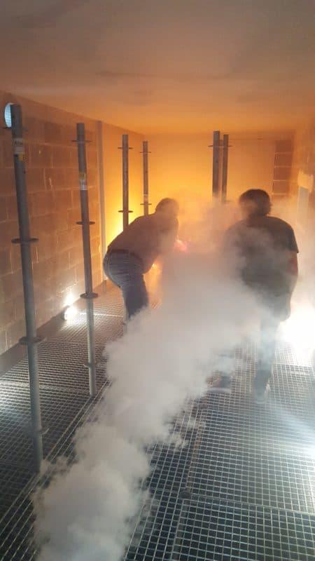 Cambra de pràctiques de formació en emergències amb foc real per a integrants de l'equip d'intervenció al centre de formació de PERADEJORDI