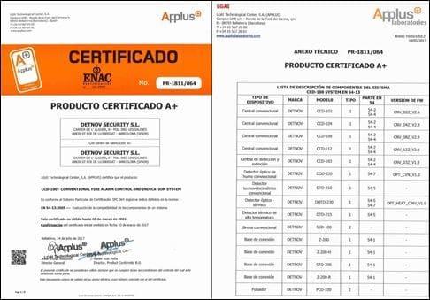 Ejemplo de un certificado EN54-13